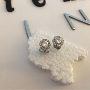 Silverplated earrings with faux diamonds